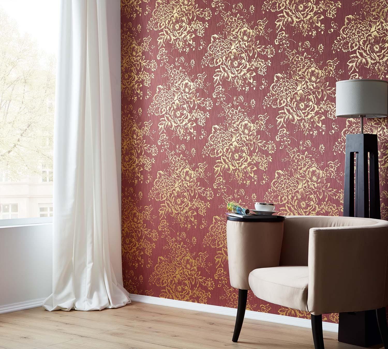 tapeten as metallic silk gratisversand. Black Bedroom Furniture Sets. Home Design Ideas